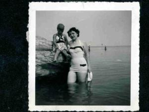 At the beach with my Mom, 1953